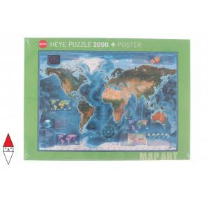 HEYE, , , PUZZLE OGGETTI HEYE CARTE GEOGRAFICHE MAP ART SATELLITE MAP 2000 PZ
