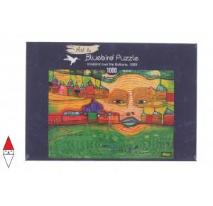 BLUEBIRD, , , PUZZLE ARTE BLUEBIRD HUNDERTWASSER IRINALAND OVER THE BALKANS 1969 1000 PZ