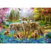 BLUEBIRD, BLUEBIRD-PUZZLE-70195, 3663384701955, PUZZLE ANIMALI BLUEBIRD LUPI SPRING WOLF FAMILY 1500 PZ