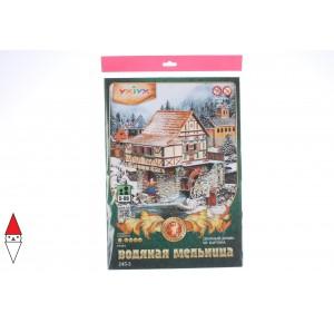 , , , PUZZLE 3D UMBUM CITTA MEDIOEVALE  MULINO AD ACQUA INVERNALE 24502