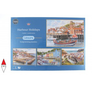 , , , PUZZLE PAESAGGI GIBSONS PORTI HARBOUR HOLIDAYS 4X500 PZ
