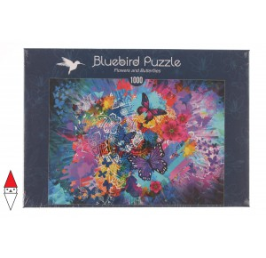 , , , PUZZLE ANIMALI BLUEBIRD FARFALLE FLOWERS AND BUTTERFLIES 1000 PZ