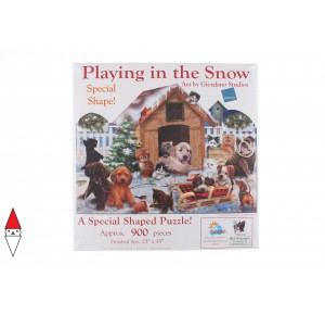 , , , PUZZLE SAGOMATO SUNSOUT CANI GIORDANO STUDIOS - PLAYING IN THE SNOW 900 PZ