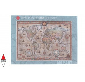 , , , PUZZLE OGGETTI HEYE CARTE GEOGRAFICHE MAP ART RETRO WORLD 1000 PZ