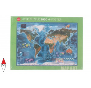 , , , PUZZLE OGGETTI HEYE CARTE GEOGRAFICHE MAP ART SATELLITE MAP 2000 PZ