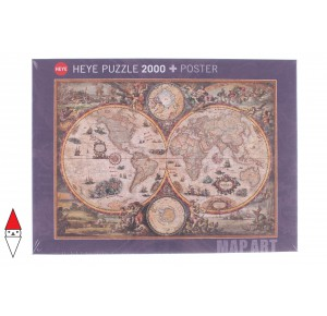 , , , PUZZLE OGGETTI HEYE CARTE GEOGRAFICHE MAP ART VINTAGE WORLD 2000 PZ
