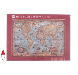 , , , PUZZLE OGGETTI HEYE CARTE GEOGRAFICHE MAP ART THE WORLD 2000 PZ