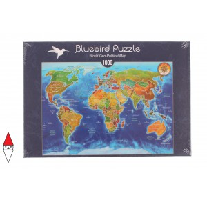 , , , PUZZLE OGGETTI BLUEBIRD CARTE GEOGRAFICHE WORLD GEO-POLITICAL MAP 1000 PZ