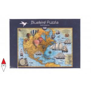 , , , PUZZLE OGGETTI BLUEBIRD CARTE GEOGRAFICHE NORTH AMERICA 1500 PZ