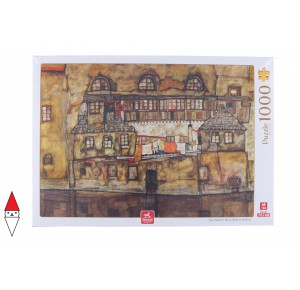 , , , PUZZLE ARTE DEICO PITTURA 1900 SCHIELE HOUSE WALL ON THE RIVER 1000 PZ