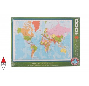 , , , PUZZLE OGGETTI EUROGRAPHICS CARTE GEOGRAFICHE MAP OF THE WORLD 1000 PZ