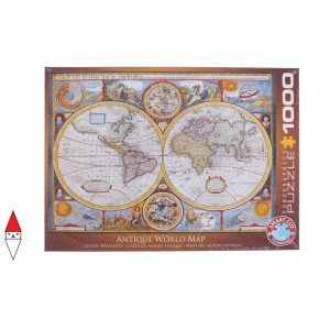 , , , PUZZLE OGGETTI EUROGRAPHICS CARTE GEOGRAFICHE ANTIQUE WORLD MAP 1000 PZ