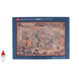 , , , PUZZLE OGGETTI HEYE CARTE GEOGRAFICHE PIRATE WORLD 2000 PZ