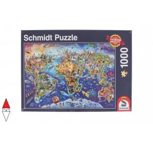 , , , PUZZLE OGGETTI SCHMIDT CARTE GEOGRAFICHE DISCOVER THE WORLD 1000 PZ