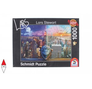 , , , PUZZLE PAESAGGI SCHMIDT CITTA STEWART NEW YORK NIGHT AND DAY 1000 PZ
