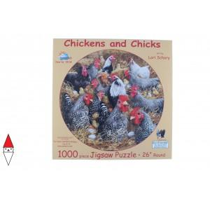 , , , PUZZLE ANIMALI SUNSOUT GALLI E GALLINE CHICKENS AND CHICKS 1000 PZ
