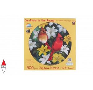 , , , PUZZLE ANIMALI SUNSOUT UCCELLI CARDINALS IN THE ROUND PEZZI XXL 500 PZ
