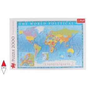 , , , PUZZLE OGGETTI TREFL CARTE GEOGRAFICHE POLITICAL MAP OF THE WORLD 2000 PZ