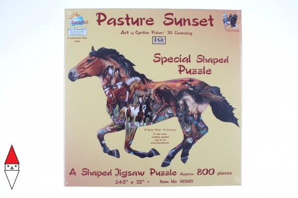 SUNSOUT, Sunsout-95903, 796780959033, PUZZLE SAGOMATO SUNSOUT CAVALLI PASTURE SUNSET 800 PZ