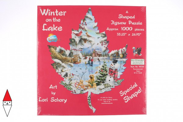 SUNSOUT, Sunsout-95310, 796780953109, PUZZLE SAGOMATO SUNSOUT STAGIONI INVERNO SUL LAGO WINTER ON THE LAKE 1000 PZ