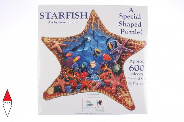 SUNSOUT, Sunsout-97136, 796780971363, PUZZLE SAGOMATO SUNSOUT STELLE MARINE SUNDRAM STARFISH 600 PZ