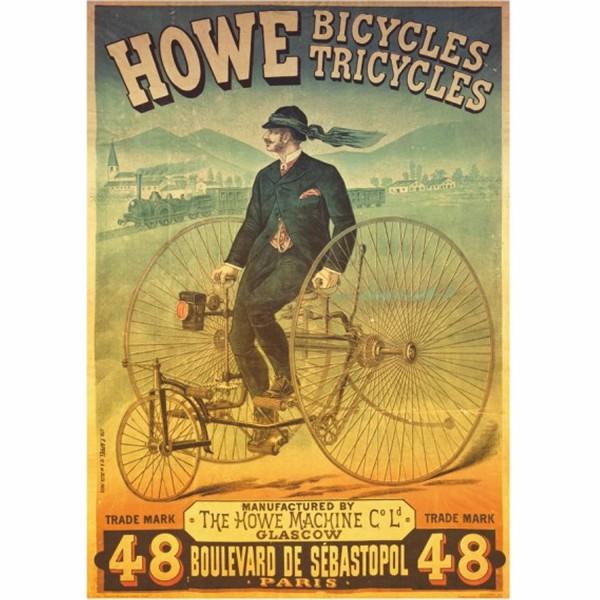 DTOYS, DToys-67555-VP01, 5947502867555, PUZZLE GRAFICA DTOYS HOWE BICYCLES ET TRICYLES STAMPE VINTAGE 1000 PZ