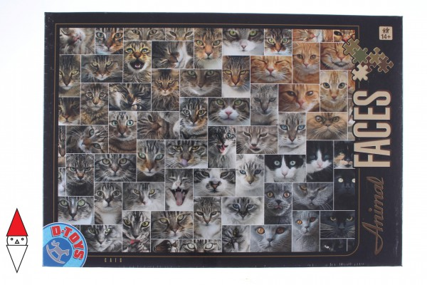 DTOYS, Dtoys-74331-AF02-(75260), 5947502875260, PUZZLE ANIMALI DTOYS COLLAGE CATS GATTI 1000 PZ