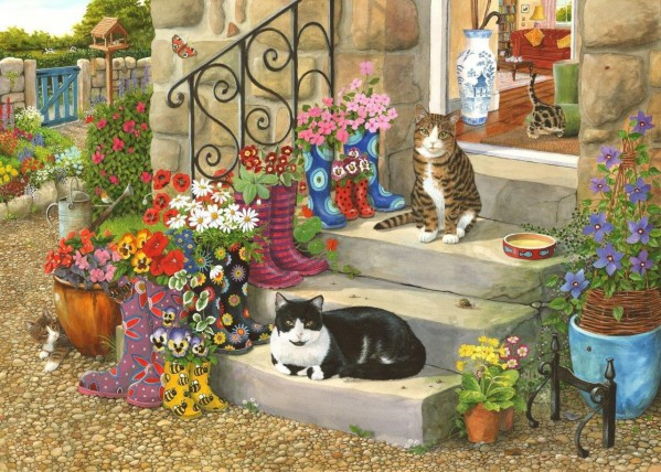 THE HOUSE OF PUZZLES, The-House-of-Puzzles-3541, 5060002003541, PUZZLE ANIMALI THE HOUSE OF PUZZLES GATTI PEZZI XXL PUSS N BOOTS 500PZ
