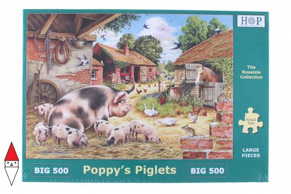 THE HOUSE OF PUZZLES, The-House-of-Puzzles-3534, 5060002003534, PUZZLE ANIMALI THE HOUSE OF PUZZLES CAMPAGNA PEZZI XXL POPPYS PIGLETS 500PZ