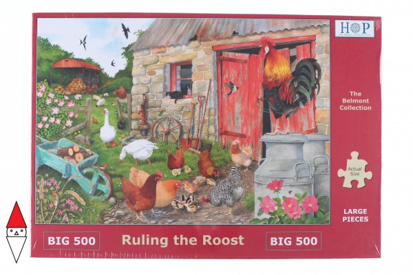 THE HOUSE OF PUZZLES, The-House-of-Puzzles-4555, 5060002004555, PUZZLE ANIMALI THE HOUSE OF PUZZLES GALLI PEZZI XXL RULING THE ROOST 500PZ