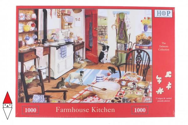 THE HOUSE OF PUZZLES, The-House-of-Puzzles-1691, 5060002001691, PUZZLE ANIMALI THE HOUSE OF PUZZLES CANI FARMHOUSE KITCHEN 1000 PZ