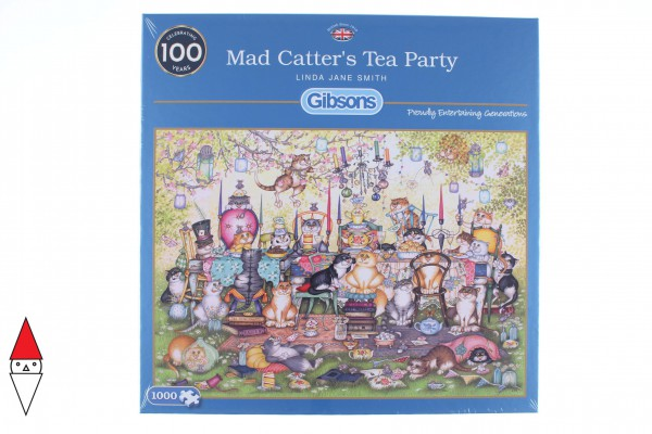 GIBSONS, G6259, 5012269062595, PUZZLE ANIMALI GIBSONS GATTI MAD CATTERS TEA PARTY 1000 PZ