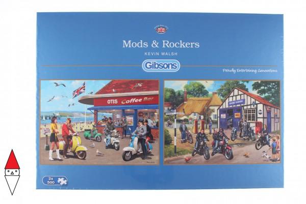 GIBSONS, G5036, 5012269050363, PUZZLE MEZZI DI TRASPORTO GIBSONS MOTO MODS AND ROCKERS 2X500 PZ