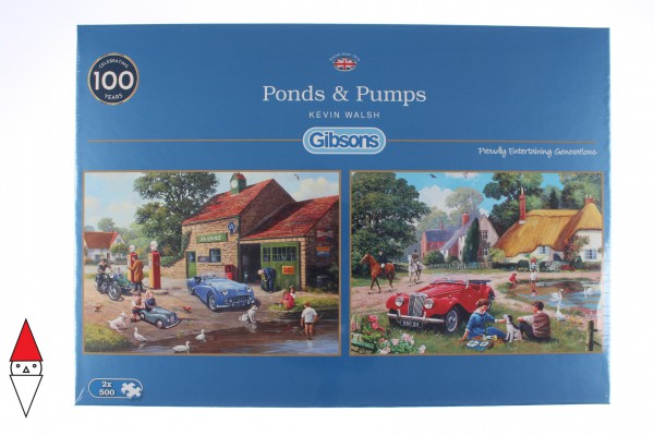 GIBSONS, G5050, 5012269050509, PUZZLE PAESAGGI GIBSONS VILLAGGI PONDS AND PUMPS 2X500 PZ G5050