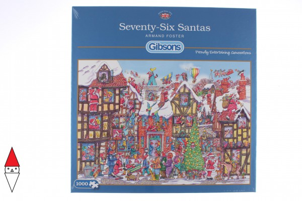 GIBSONS, G6251, 5012269062519, PUZZLE TEMATICO GIBSONS NATALE SEVENTY-SIX SANTAS 1000 PZ