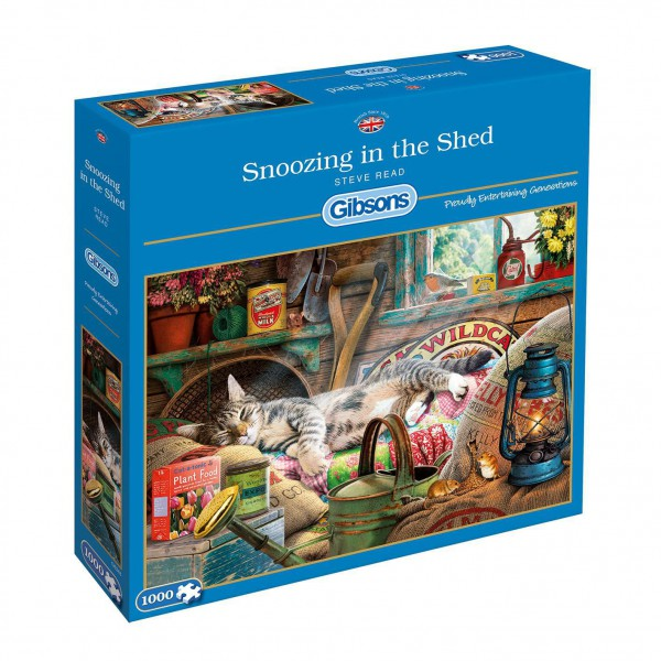 GIBSONS, G6248, 5012269062489, PUZZLE ANIMALI GIBSONS GATTI SNOOZING IN THE SHED 1000 PZ