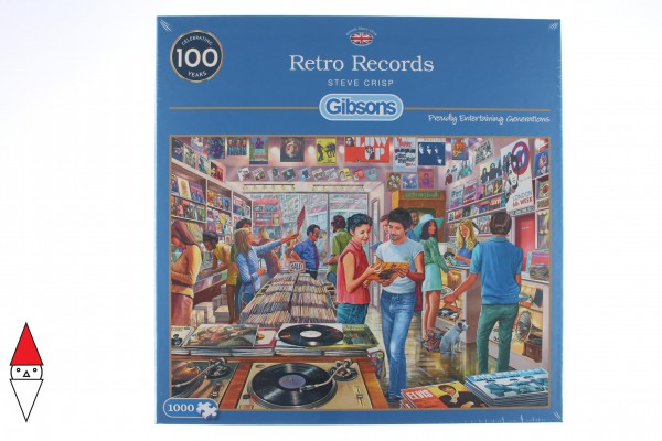GIBSONS, G6255, 5012269062557, PUZZLE TEMATICO GIBSONS NEGOZI RETRO RECORDS 1000 PZ