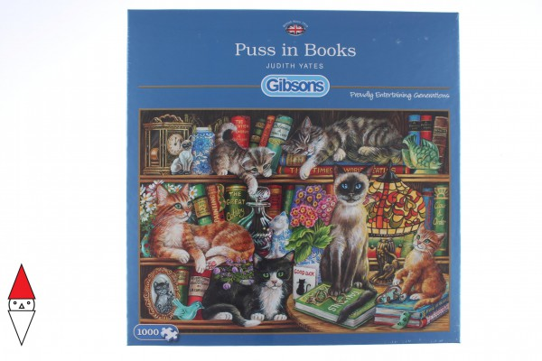 GIBSONS, G6147, 5012269061475, PUZZLE ANIMALI GIBSONS GATTI PUSS IN BOOKS 1000 PZ