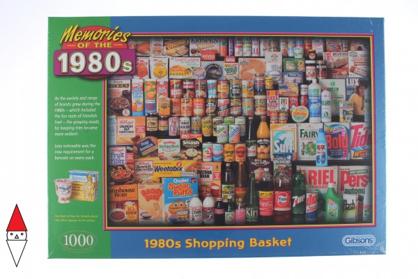 GIBSONS, G7034, 5012269070347, PUZZLE OGGETTI GIBSONS VINTAGE 1980S SHOPPING BASKET 1000 PZ