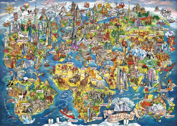 GIBSONS, G7098, 5012269070989, PUZZLE TEMATICO GIBSONS CARTE GEOGRAFICHE WONDERFUL WORLD 1000 PZ