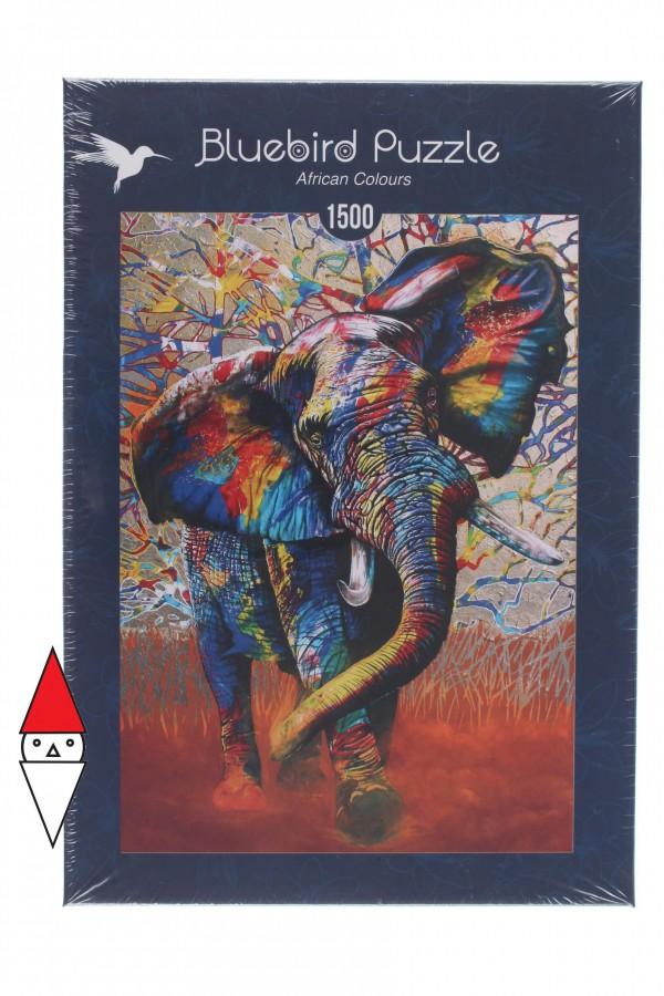 BLUEBIRD, Bluebird-Puzzle-70101, 3663384701016, PUZZLE ANIMALI BLUEBIRD ELEFANTI AFRICAN COLOURS 1500 PZ