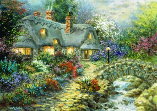 BLUEBIRD, BLUEBIRD-PUZZLE-70064, 3663384700644, PUZZLE EDIFICI BLUEBIRD COTTAGES E CHALETS COUNTRY COTTAGE 1000 PZ