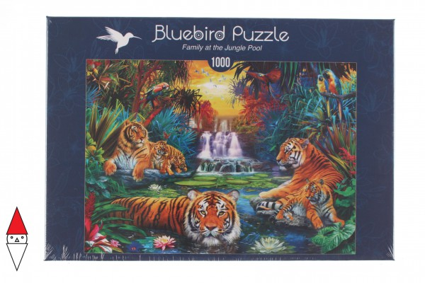 BLUEBIRD, BLUEBIRD-PUZZLE-70155, 3663384701559, PUZZLE ANIMALI BLUEBIRD TIGRI FAMILY AT THE JUNGLE POOL 1000 PZ