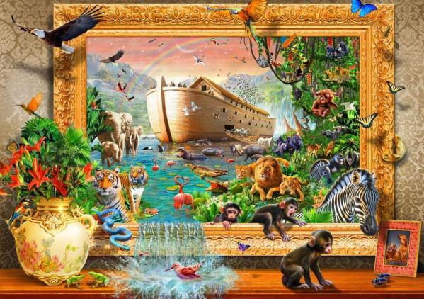 BLUEBIRD, BLUEBIRD-PUZZLE-70140, 3663384701405, PUZZLE ANIMALI BLUEBIRD ANIMALI VARI NOAHS ARK FRAMED 1500 PZ