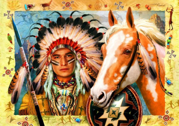 BLUEBIRD, BLUEBIRD-PUZZLE-70284, 3663384702846, PUZZLE TEMATICO BLUEBIRD INDIANI INDIAN CHIEF 1500 PZ