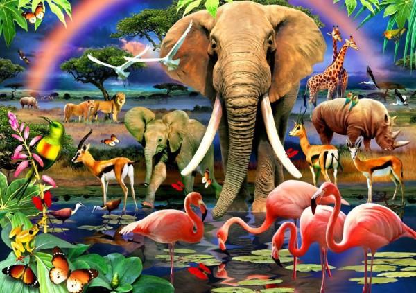 BLUEBIRD, BLUEBIRD-PUZZLE-70286, 3663384702860, PUZZLE ANIMALI BLUEBIRD ANIMALI VARI AFRICAN SAVANNAH 1500 PZ