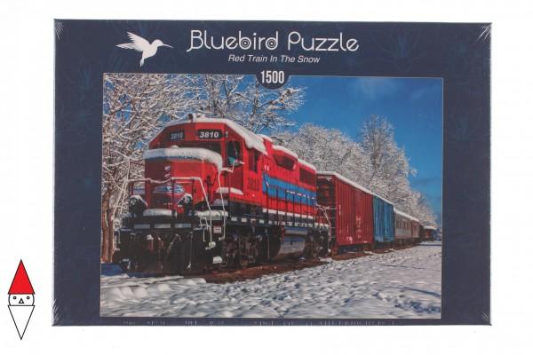 BLUEBIRD, BLUEBIRD-PUZZLE-70282, 3663384702822, PUZZLE MEZZI DI TRASPORTO BLUEBIRD TRENI RED TRAIN IN THE SNOW 1500 PZ