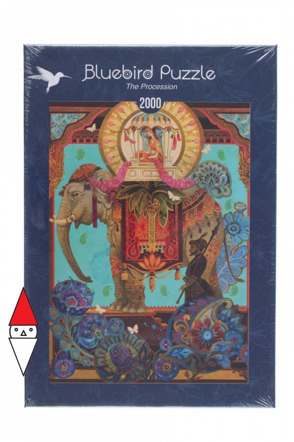 BLUEBIRD, BLUEBIRD-PUZZLE-70204, 3663384702044, PUZZLE ANIMALI BLUEBIRD ELEFANTI THE PROCESSION 2000 PZ
