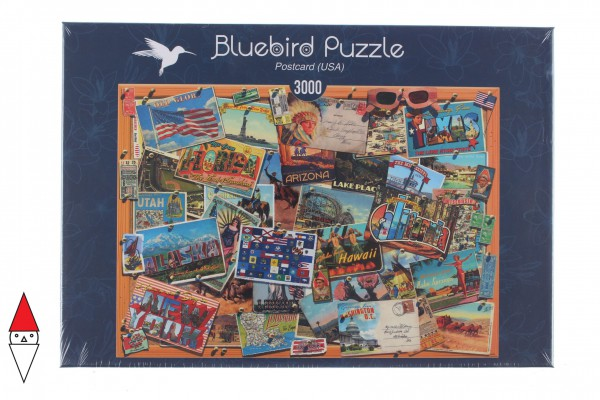 BLUEBIRD, BLUEBIRD-PUZZLE-70170, 3663384701702, PUZZLE OGGETTI BLUEBIRD CARTOLINE POSTCARD (USA) 3000 PZ