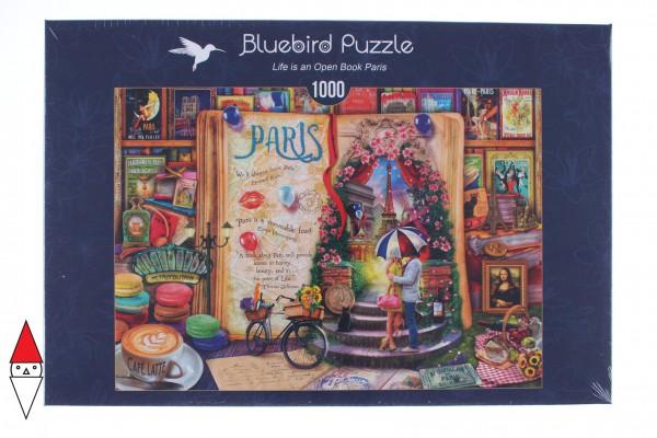 BLUEBIRD, BLUEBIRD-PUZZLE-70239-P, 3663384702396, PUZZLE TEMATICO BLUEBIRD CITTA LIFE IS AN OPEN BOOK PARIS 1000 PZ
